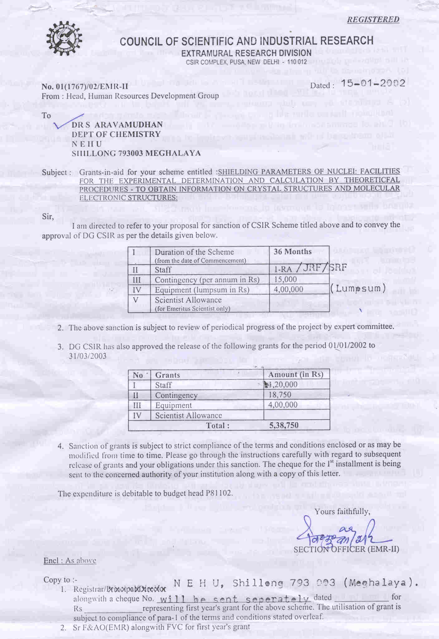 A fascimile of the letter from csir conveying approval of research fascimile of letter from csir new delhi altavistaventures Image collections